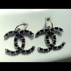 Chanel CC dangle earrings silver and leather